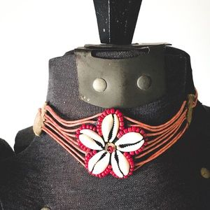 Jewelry - SHELL LEATHER BEAD CORDED BOHO HIPPIE CHOKER